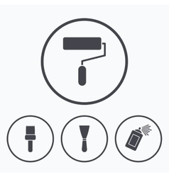 Paint roller brush icon Spray can and Spatula vector image