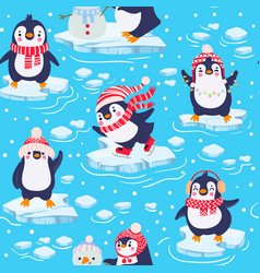 penguins seamless pattern cute baby vector image