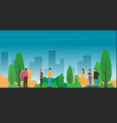 People gathering and communicating in city vector