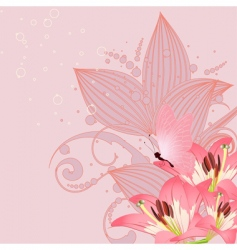 pink lilies vector image