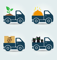 Plants food animals and parcels delivery van vector