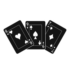 Playing cards black simple icon vector