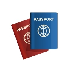 Red and blue leather Passport icon vector