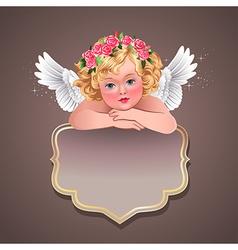 Retro angel banner vector