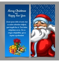 Santa Claus with gifts on a blue background vector image