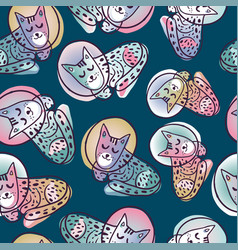 Seamless pattern astronaut cats in space vector