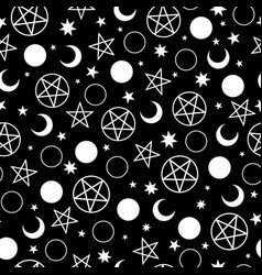 seamless pattern witch signs on black vector image
