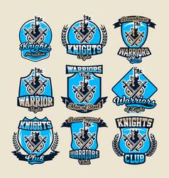 set colorful logos emblems ancient fortress vector image