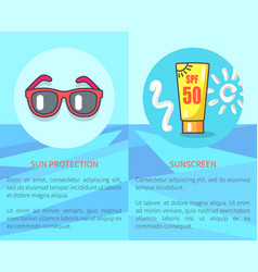 Set of sun protection and sunscreen posters vector