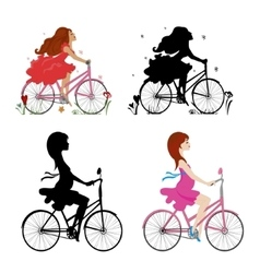 Set pregnant and non-pregnant girls riding bikes vector