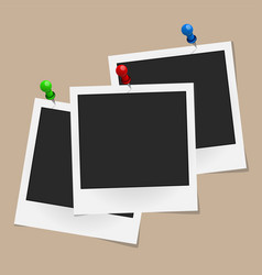 Set realistic photo frames on colored pins vector