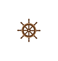 ship wheel marine for logo design on a white vector image