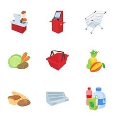 Shop icons set cartoon style vector image