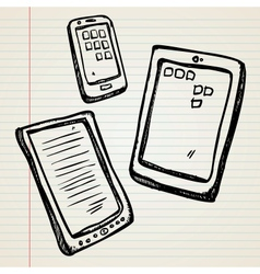 Sketches a e-book tablet and smartphone vector