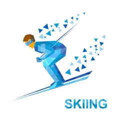 skiing skier running downhill vector image