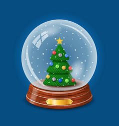 snowy glass ball with a knitted christmas tree vector image
