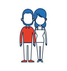 Standing people couple holding hands with blue vector