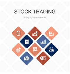 Stock trading infographic 10 option color design vector