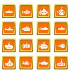 Submarine icons set orange square vector