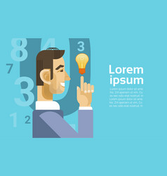 Successful business man with new idea light bulb vector
