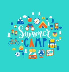 Summer camp with a lot of camping equipment vector