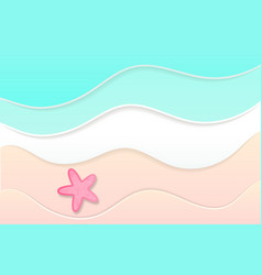 summer time background sea and beach paper art vector image