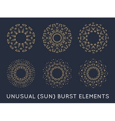 sun burst vintage shapes collection set sun ray vector image