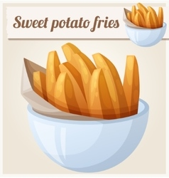 Sweet potato fries Detailed icon vector