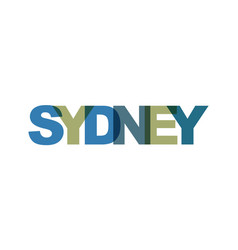 sydney phrase overlap color no transparency vector image