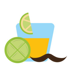 tequila in glass drink slice lemon mexican vector image