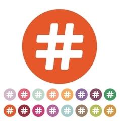 The hash icon Hashtag symbol Flat vector image