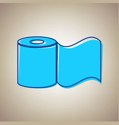 Toilet paper sign sky blue icon with vector