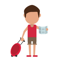Tourist traveler man luggage and map vector