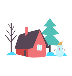 Tree with house garden yard outdoor view vector