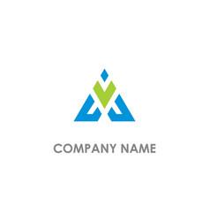 Triangle v initial company logo vector