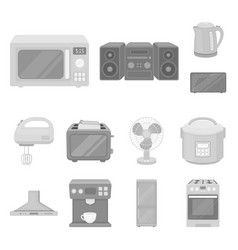 Types of household appliances monochrome icons in vector