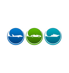 Vehicles icons like airline highway seaway vector