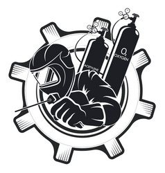 welder in mask and uniform symbol vector image