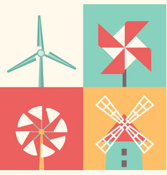 Windmill linear flat icons wind energy cartoon vector