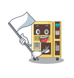 With flag coffee vending machine in cartoon vector