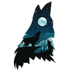 Wolf Howling with Forest6 vector