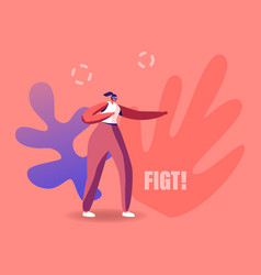 woman character in vr goggles fighting virtual vector image
