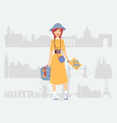 Young woman independent traveler vector