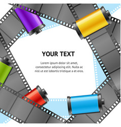 camera film roll cartrige photo retro banner card vector image