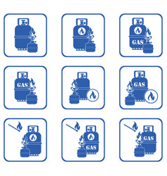 camping stove with gas bottle icons set vector image