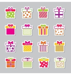 Colorful gift boxes icons set vector image vector image