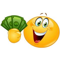emoticon with dollars vector image vector image