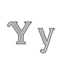 Font tattoo engraving letter y with shading vector