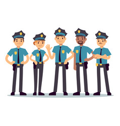 group of police officers woman and man cops vector image