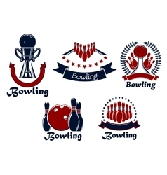 Bowling game icons with balls ninepins and trophy vector image vector image